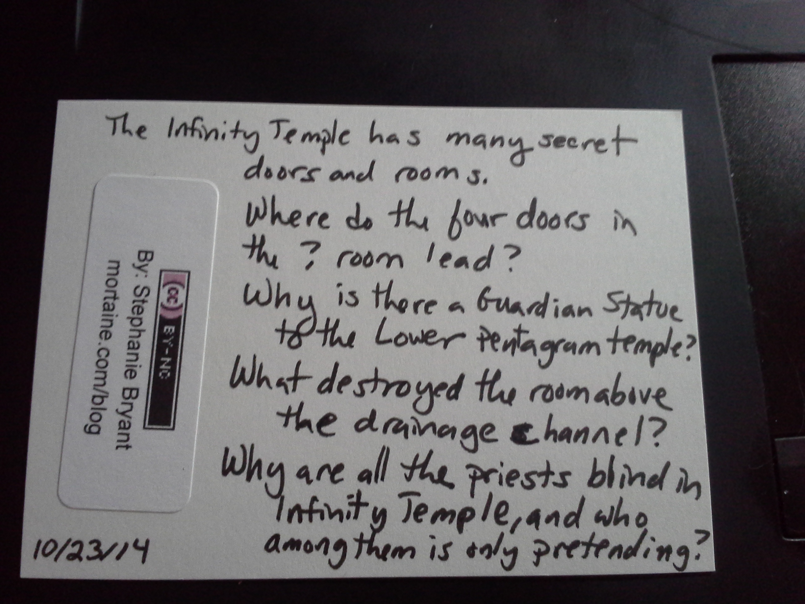 Infinity Temple: Back of the card