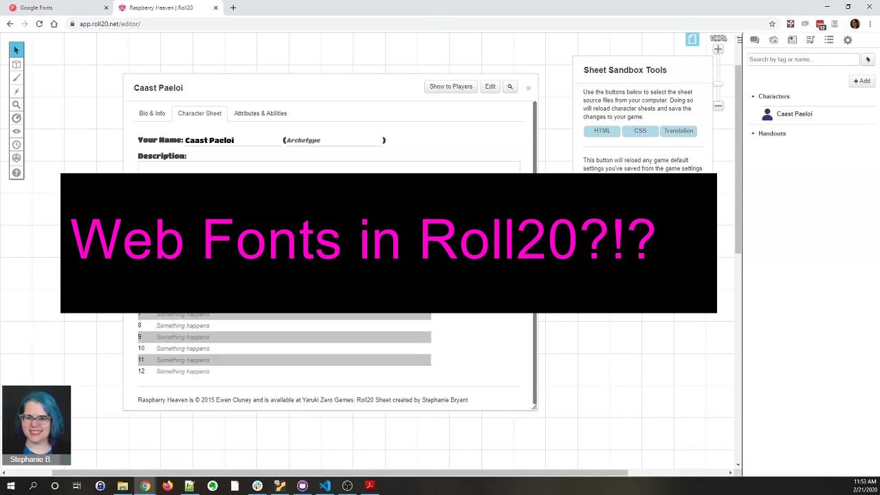 Web Fonts in Roll20